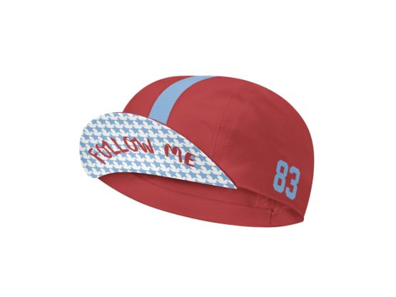 Follow me red and blue cycling cap